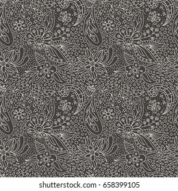 Dark vector floral background with hand made pattern. Lineart.