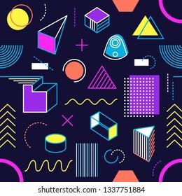 Dark vector geometric seamless pattern memphis style shapes