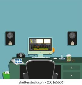 Dark Video Editing Room Concept 2. Flat Vector eps10