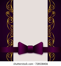 Dark violet vintage greeting card template with bow and ribbon. Vector wedding invitation design. Anniversary template design for any celebration. Marriage, birthday, christmas, baby shower flyer.