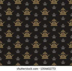 Dark wallpaper seamless pattern in royal style. Vector graphics