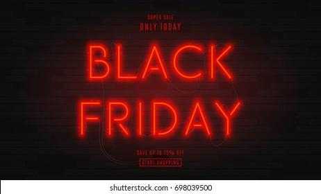 Banner oscuro de la web para la venta del viernes negro. Cartel rojo de neón moderno en una pared de ladrillo. Concepto de publicidad para oferta de temporada con texto de neón brillante.