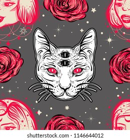 Dark witchy seamless pattern in tatto art style with four eyed lady, cat and roses