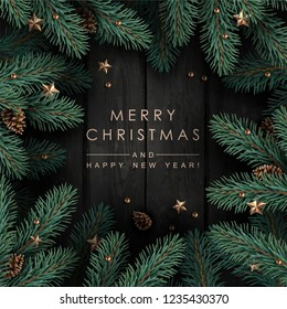 Dark Wooden Background with Realistic Looking Christmas Tree Branches, Fir Cones, Gold Stars and Beads