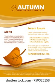 Dark yellow and brown seasonal autumn document template with leaf symbol