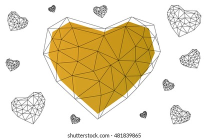 Dark Yellow heart isolated on white background. Geometric rumpled triangular low poly origami style gradient graphic illustration. Vector polygonal design for your business.
