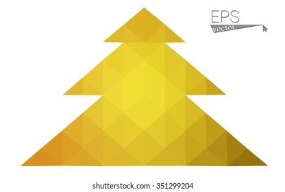 Dark yellow low polygon style christmas tree vector illustration consisting of triangles.Abstract polygonal origami or crystal design of New Years celebration. Isolated on white background.