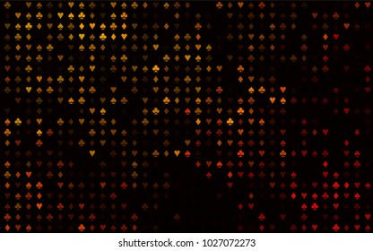 Dark Yellow, Orange vector cover with symbols of gamble. Colored illustration with hearts, spades, clubs, diamonds. Design for ad, poster, banner of gambling websites.