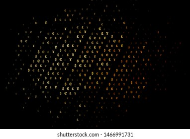 Dark Yellow, Orange vector template with EUR, JPY, GBP. Illustration with EUR, JPY, GBP signs on white template. The pattern can be used as ads, poster, banner for payments.