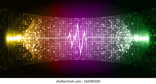 Dark yellow purple green Sound wave background suitable as a backdrop for music, technology and sound projects. Blue Heart pulse monitor with signal. Heart beat.