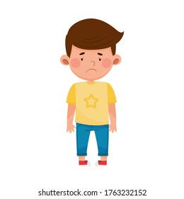 Dark-haired Boy Standing with Sadness on His Face Vector Illustration