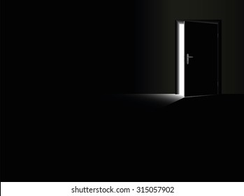 Darkness - black room with a half open door and a glimmer of light coming in - as a symbol for fear, frustration, depression, hope, courage and for taking a chance. Vector illustration.