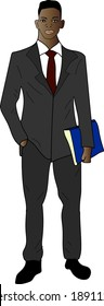 A dark-skinned African American man businessman in a black business suit holds a folder in his hands.