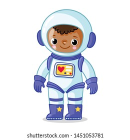 Dark-skinned astronaut  in a space suit on a white background. Vector illustration on the space theme in cartoon style.