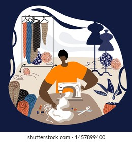 Dark-skinned man tailor in workplace. Dressmaker working at sewing machine. Busy sewing man in his workshop in a modern flat style. Vector flat illustration