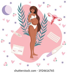 A dark-skinned pregnant woman in white underwear keeps track of her menstrual cycle according to the calendar. Positive pregnancy test
