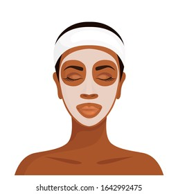 Dark-skinned woman with a cosmetic mask on her face. African girl with facial mask isolated on white background. Vector illustration in cartoon style. Skin care.