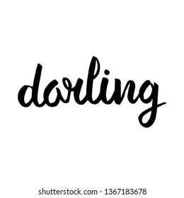 Darling cursive hand lettering vector isolated on white background