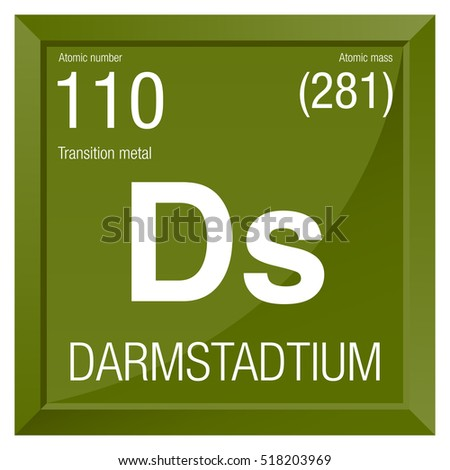 Darmstadtium Symbol Element Number 110 Periodic Stock Vector