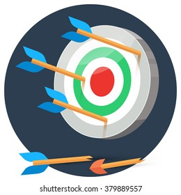 Dart arrows miss target on color background in circle, lose flat vector illustration broken arrow, 3d stylize