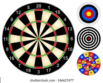 Dart board and other target games vector illustration