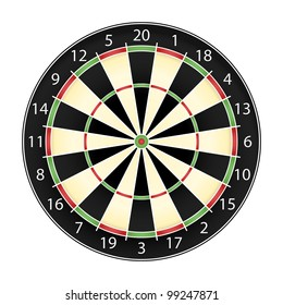 Dart board over white background, realistic vector illustration eps10