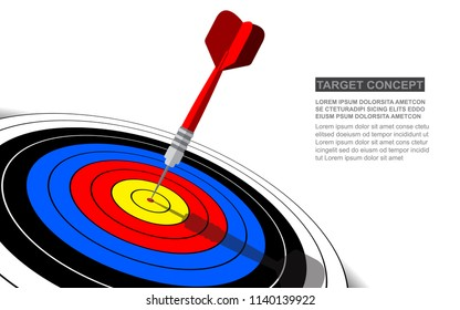 Dart board vector isolated template for business goal. Shooting target success solutions concept.