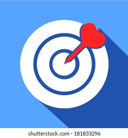 Dart in the dartboard center icon isolated vector illustration