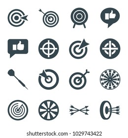 Dart icons. set of 16 editable filled dart icons such as target, dart, thumb up, arrows in target