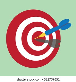 Dart on dart board.Concept of target,exactly,success-vector