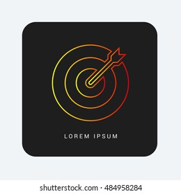Dart Red & Orange gradient attractive line thin icon / logo design