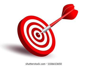 Dart target. Business Success Concept. Creative idea 3d illustration isolated on white background