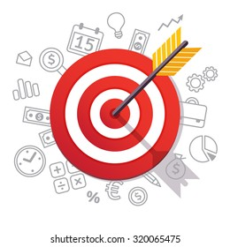 Dartboard arrow and icons. Business achievement and success concept. Straight to the aim symbol. Flat style vector illustration isolated on white background.