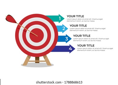 Dartboard arrows hitting target, objective achieved, target concept with four steps infographics
