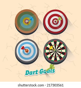 dartboard collection for darts game - vector illustration