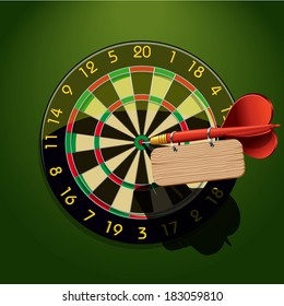 Dartboard with dart and blank table template in the center concept goal achievement vector illustration
