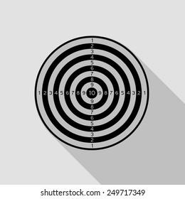 dartboard icon - black illustration with long shadow