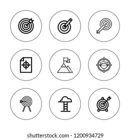 Dartboard icon set. collection of 9 outline dartboard icons with archery, dart board, dartboard, darts, goal, goals icons. editable icons.