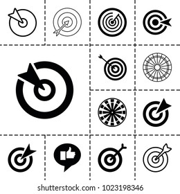 Dartboard icons. set of 13 editable filled and outline dartboard icons such as target, dart