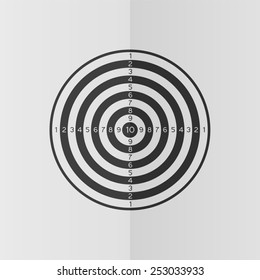 Dartboard vector icon. Effect of folded paper. Flat design