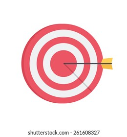Darts aim board. Successful shot. Isolated icon pictogram. Eps 10 vector illustration.