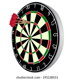 Darts aim. EPS 10 vector sketch illustration without transparency and meshes.