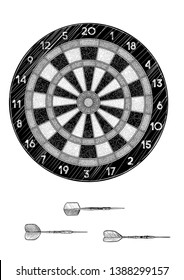 Darts and arrow illustration, drawing, engraving, ink, line art, vector