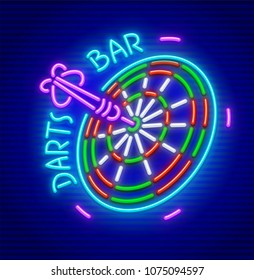 Darts bar. Neon sign for darts game playing place. Neon icon for entertainment facility. EPS10 vector illustration.