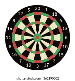 Darts board. Vector illustration isolated on white background.