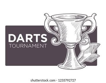 Darts championship, tournament sketch logo vector. Monochrome outline