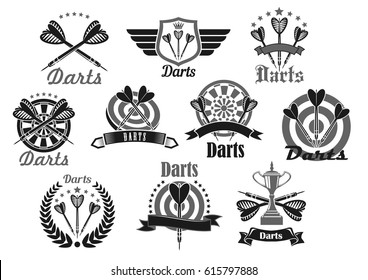 Darts club or sport competition symbol set. Darts and dartboard with champion trophy cup, laurel wreath and ribbon banner, adorned with star and crown. Darts team or sport club emblem design
