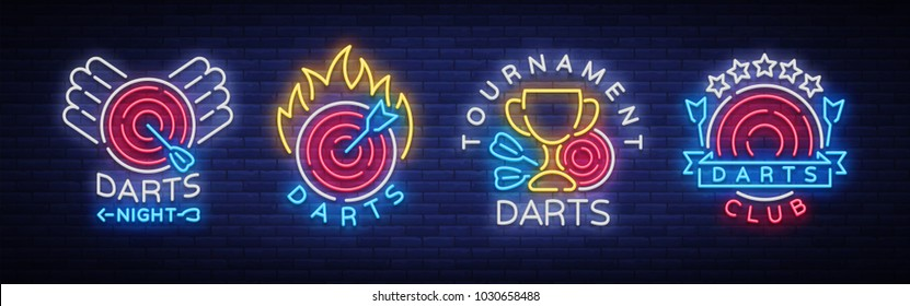 Darts collection of neon signs. Vector illustration. Bright nightly Darts advertising, neon logo, symbol, lightweight banner, design template for your projects