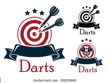 Darts emblem logo with crossed a dart board and darts over a blank ribbon banner with stars above in three color variants with text - Darts