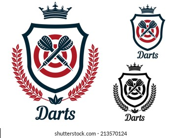 Darts emblems or signs set with dartboard, crown, heraldic shield, arrows, laurel wreath, crown and text  Darts, for sport and recreation logo design